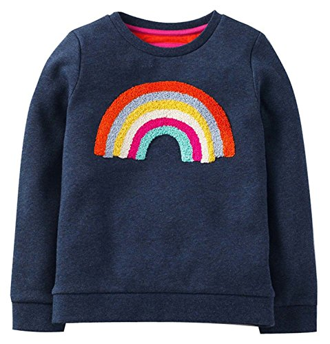 RJXDLT Kid Girl's Sweatshirts Cute Sweatshirt Crewneck Pullover (4-5 Years, H) 204 Rainbow