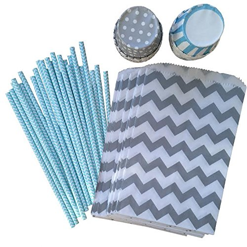 White Paper Straws and Candy//Nut Cups 24 Pack Silver Light Blue Outside the Box Papers Silver and Light Blue Party Goods Bundle with Favor Sacks