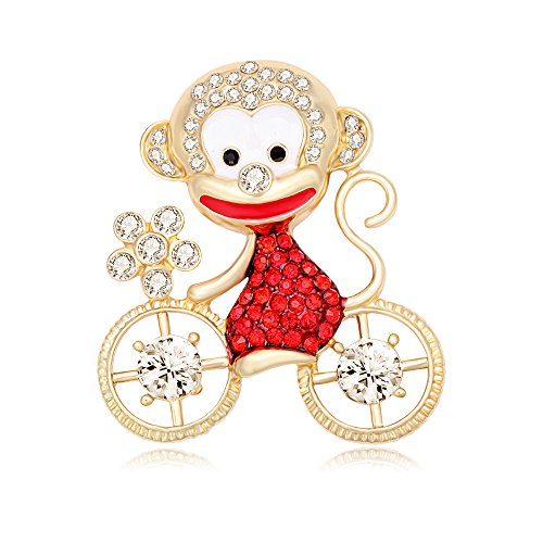 Pin Bike Brooch (PANGRUI Exquisite Cute Smiling Monkey on a Bike Brooch Pin with Crystal Rhinestones)