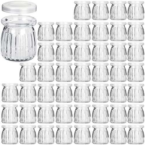 Glass Jars, KAMOTA 40 PACK 6 oz Yogurt Jars With PE Lids, Glass Pudding Jars Yogurt Jars Ideal for Jam, Honey, Wedding Favors, Shower Favors, Baby Foods (200ml)