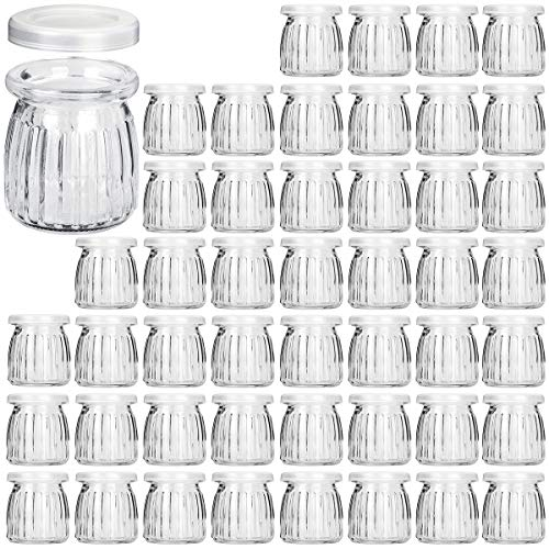 Glass Jars, KAMOTA 40 PACK 6oz Yogurt Jars With PE Lids, Glass Pudding Jars Yogurt Jars Ideal for Jam, Honey, Wedding Favors, Shower Favors, Baby Foods (200ml) ()