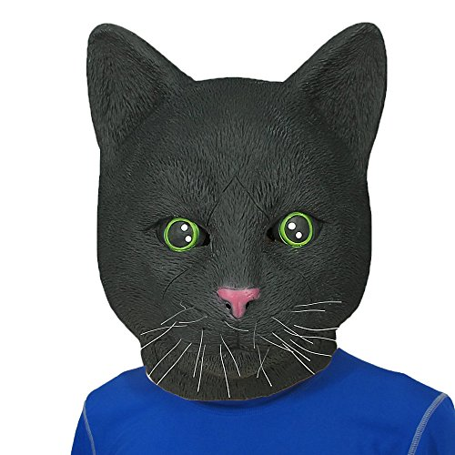 [Monstleo Latex Rubber Black Cat Animal Head Mask Halloween Party Costume Decorations] (Halloween Costumes With Mask)