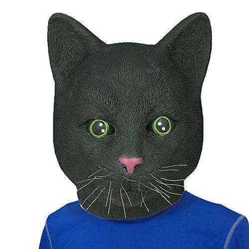 [Monstleo Latex Rubber Black Cat Animal Head Mask Halloween Party Costume Decorations] (Zebra Head Costumes)