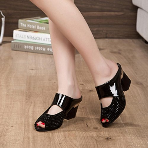 Jamicy Women Girls Fashion Summer Mixed Colors Rhinestone Thick Mid Heel Open Toe Color Block Decoration Sandals Black zGv8tav
