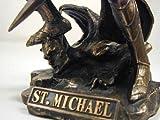 Archangel Saint Michael Statue Real Bronze Powder