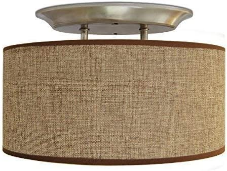 Dream Lighting Led 12volt Dc Fabric Light Fixtures Vintage Dining Lights Vehicle Decorative Lamp With Brown Burlap Elliptical Oval Ceiling Light Shade