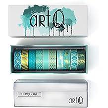 Washi Tape Set [10 rolls] - 330 Feet Long - Acrylic Organizer and Dispenser Box - Decorative Washi Tapes - Colorful Craft Tape - Adhesive Decor Masking Tape with Gift Box by ArtQ - Turquoise