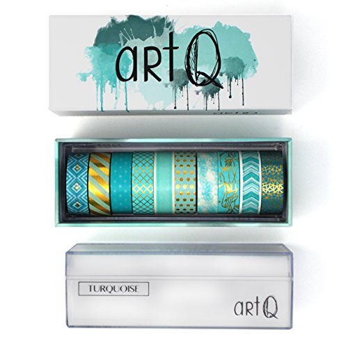 Washi Tape Foil Set [10 rolls] - 330 Feet Long - Acrylic Organizer and Dispenser Box - Decorative Washi Tapes - Colorful Craft Tape - Adhesive Decor Masking Tape with Gift Box by ArtQ - Turquoise by Art Q