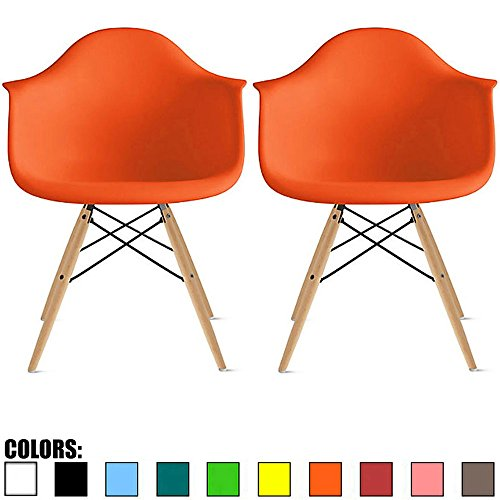 2xhome Set of 2 Orange Mid Century Modern Contemporary Vintage Molded Shell Designer with Arms Plastic Eiffel Chairs Natural Wood Legs DAW Dining Accent Conference Room Desk Ergonomic No Wheels
