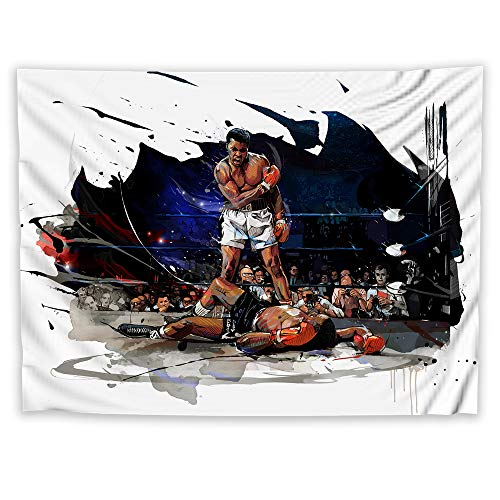 - JackGo7 Muhammad Ali Tapestry Art Wall Hanging Sofa Table Bed Cover Mural Beach Blanket Home Dorm Room Decor Gift (60X45inch/150x113cm)