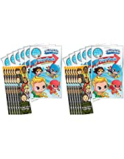 Bundle of 12 DC Superfriends Grab & Go Play Packs and 12 KaleidoQuest 'Everyday Heroes' Heroes-Themed Colorable Bookmarks