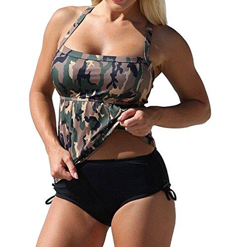 JINTING Women Halter Army Swimsuit Camouflage Tankini Top Two Piece Bikini Swimwear Set,Camouflage,3XL/US 14-16 ()