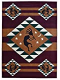 Rugs 4 Less Collection Southwest Native American Indian Dancing Kokopelli Area Rug in Burgundy / Maroon (5'x7')