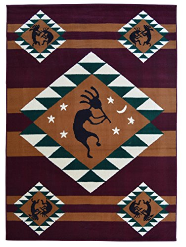 Rugs 4 Less Collection Southwest Native American Indian Dancing Kokopelli Area Rug in Burgundy / Maroon ()