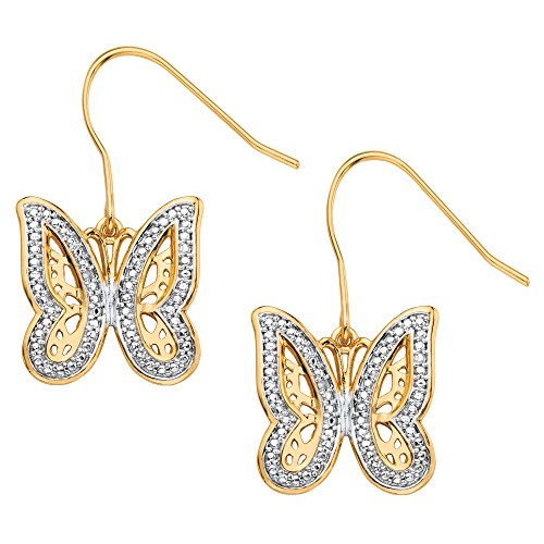 White Diamond Accent Pave-Style 18k Gold-Plated Butterfly Drop Earrings