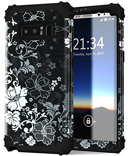 Galaxy Note 8 Case, Hocase Shockproof Heavy Duty Hybrid Silicone Rubber Bumper+Hard Shell Full Body Protective Phone Case w/ Classic Flower Print for Samsung Galaxy Note 8 (2017) - Black