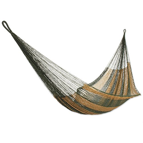 (NOVICA Earthtone Olive Green Brown Striped Hand Woven Nylon Mayan 1 Person Rope Hammock with Hanging Accessories, Mossy)