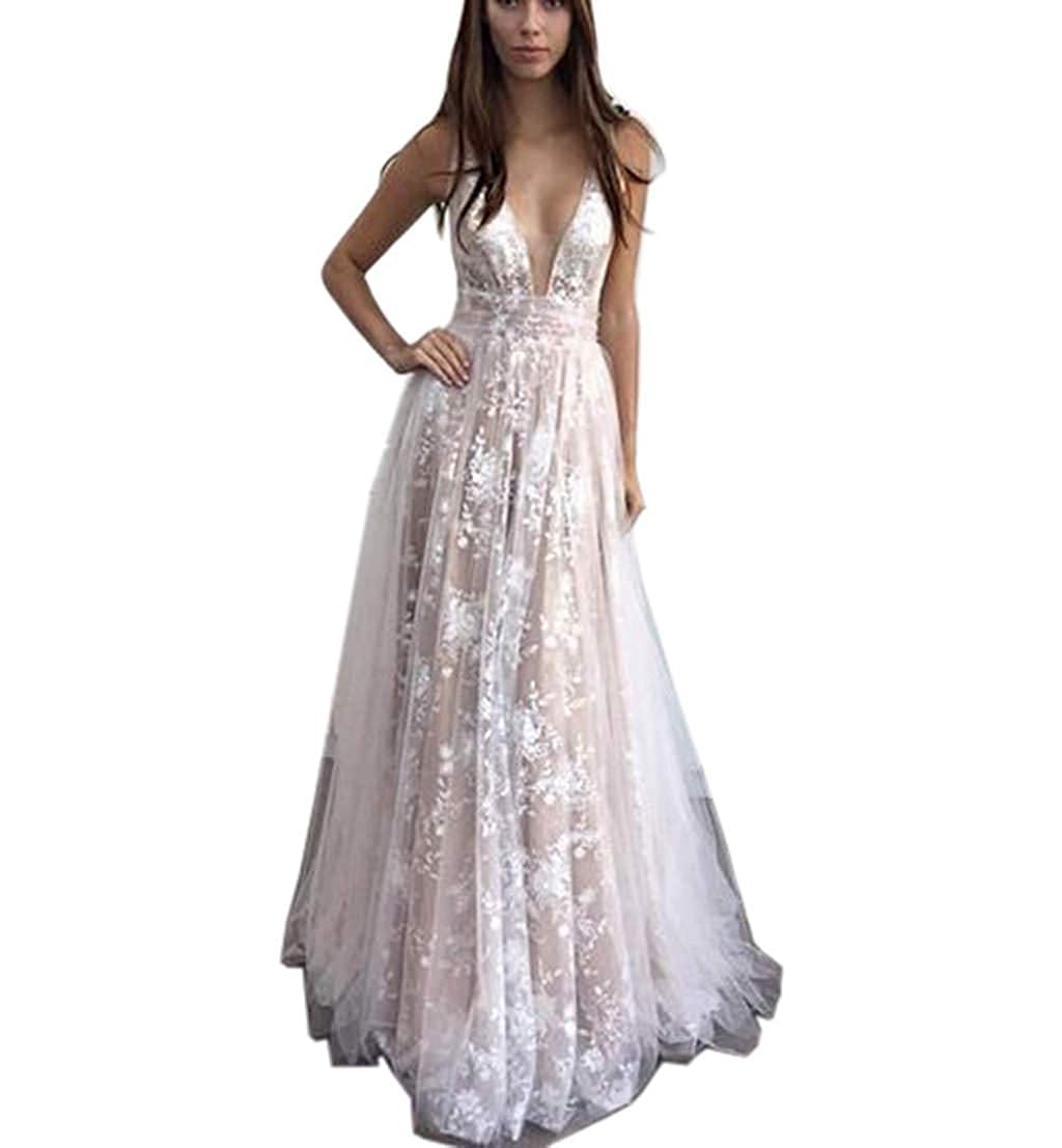 b0499d1725b Amazon.com  Lace Illusion Beach Wedding Dresses A-Line Boho Long Sleeves Wedding  Gowns  Clothing