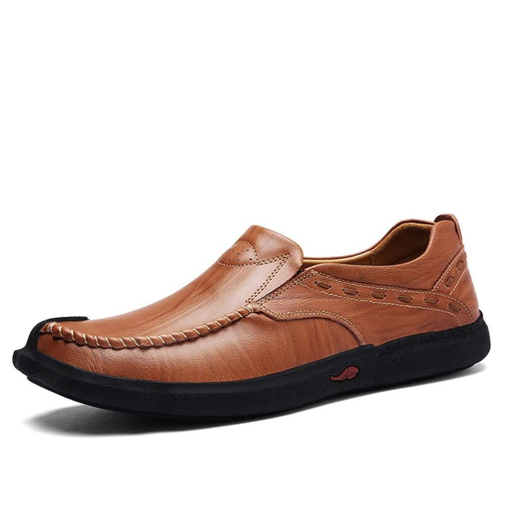 Reddish Brown SRY-Fashion shoes Men's Business Loafer Genuine Leather shoes Fashion Casual Elastic Gored Panel Flat Slip On Round Toe Lined Oxford