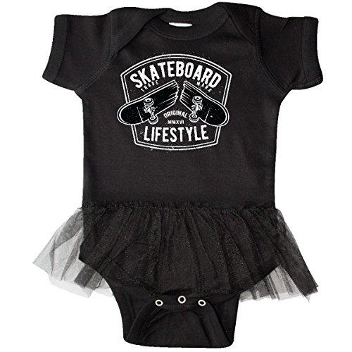 inktastic Skateboard Lifestyle Infant Tutu Bodysuit 6 Months Black