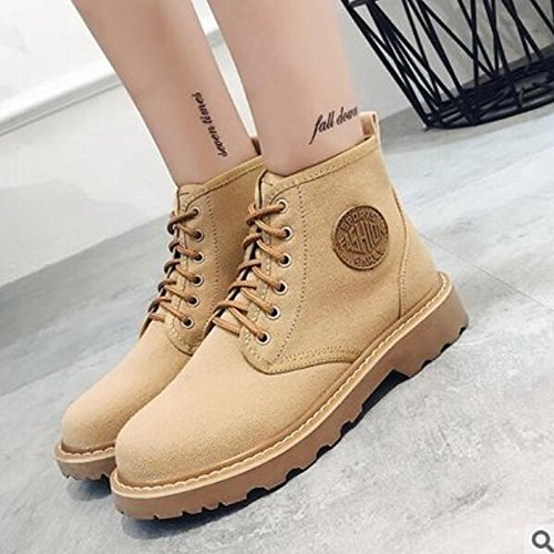 for Black Winter Boots Toe ZHZNVX Booties Ankle Chunky Boots Shoes HSXZ Black Comfort Heel Closed Casual Leather Beige Nappa Fall Women's BBqawXcH