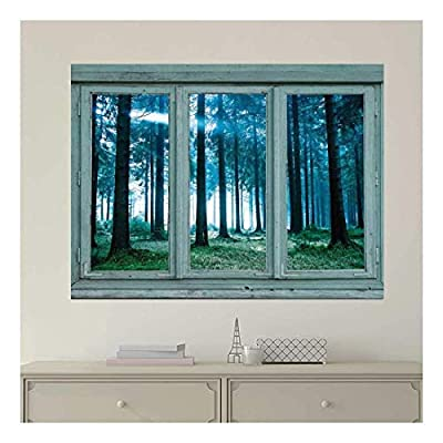 Vintage Teal Window Looking Out Into a Blue Foggy Forest - Wall Mural, Removable Sticker, Home Decor - 36x48 inches