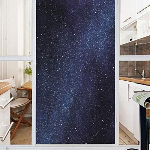 Decorative Window Film,No Glue Frosted Privacy Film,Stained Glass Door Film,Space with Billion Stars Inspiring View Nebula Galaxy Cosmos Infinite Universe,for Home & Office,23.6In. by 47.2In Dark Blue