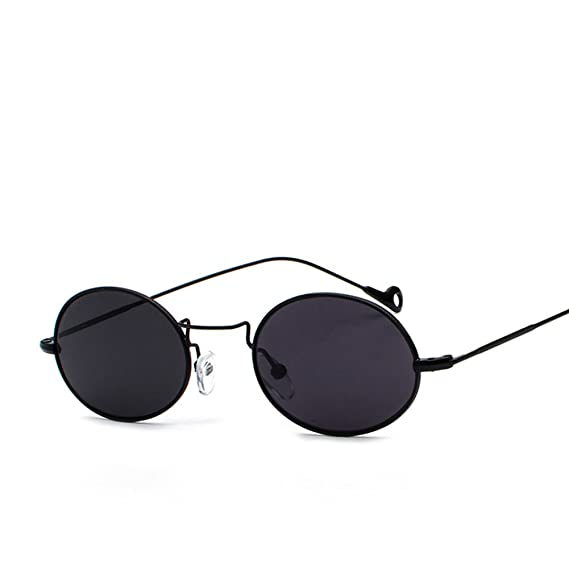 234e41e055 Small Oval Sunglasses Men Gold Metal Frame Retro Round Sun Glasses For  Women (full black