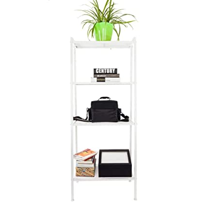White Widen 4 Tiers Bookshelf Ivory Includes 2 X L Tubes Front