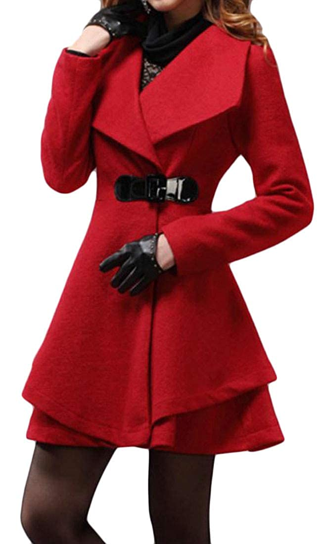 Pandapang Womens Lapel Autumn Winter Outwear Wool Dress Jacket Trench Coat
