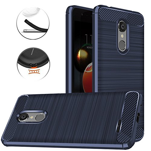 LG Tribute Dynasty Case, LG Aristo 3 Case, LG Aristo 2 Case, LG Tribute Empire Case, Dretal Carbon Fiber Anti-fingerprint Shock Resistant Brushed Texture Soft Flexible TPU Protective Cover Case (Navy)