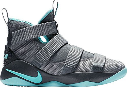 Nike Kids' Grade School LeBron Soldier XI Basketball Shoes (Grey/Aqua, 7)