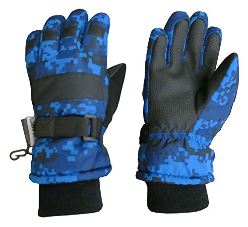 NIce Caps Kids Cold Weather Waterproof Camo Print Thinsulate Ski Gloves (Blue Digital Camo, 5-6 Years)