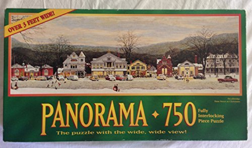 Norman Rockwell Panorama 750 Piece Puzzle - Stockbridge Main Street At Christmas - Over 3 Feet - Main Norman Street