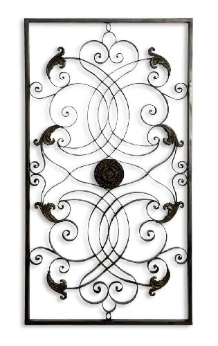 Uttermost Effie Distressed, Aged Black With Chestnut Brown Undertones Rectangle Metal Wall - Chestnut Wall Metal