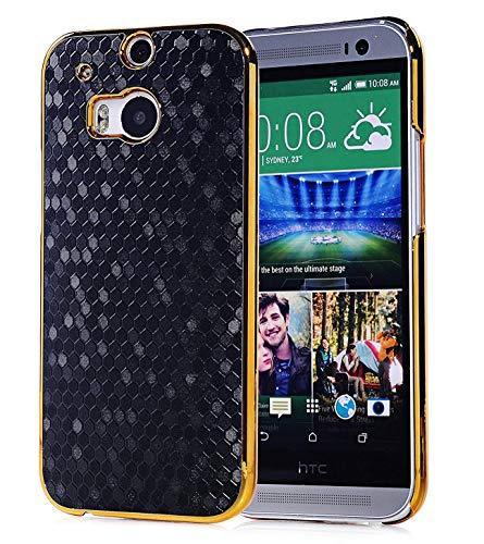HTC One M8 Case, Vfunn Elegant Golden Plating Hard Back Case Cover for HTC One M8 (Black)