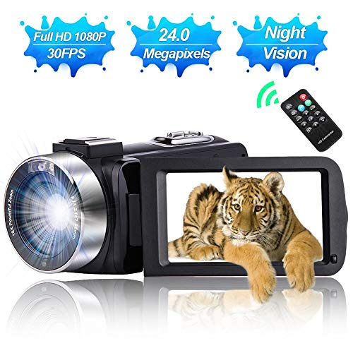 Camcorder Video Camera Full HD 1080P 30 FPS IR Night Vision Vlogging Camera 3.0 Inch IPS Screen...