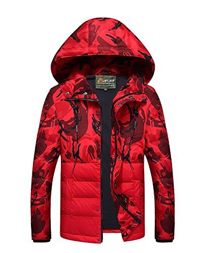 Camouflage 2 Winter Red Hooded Men's Jackets Jacket Sunshey Down Puffa 5wATqp