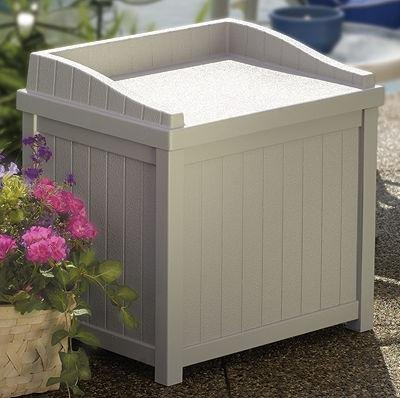 Storage Seat for Decks, Patios and Pool Sides - Durable Resin Construction by Suncast