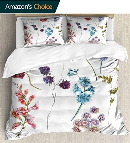 (Watercolor Flower Home Duvet Cover Set,Colorful Watercolor Wildflowers and Sprigs Flowers Botanical Garden Theme Print Quilt Cover Set White Queen Pattern Bedding Collection 87