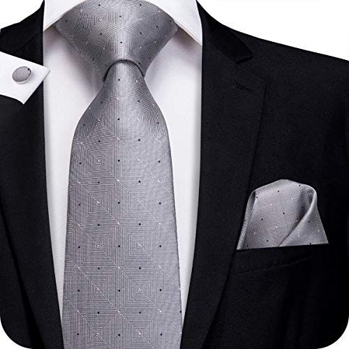 Hi-Tie New Arrival Mens Novelty Tie Necktie Pocket Square and Cufflinks Tie Set Gift Box (Grey)