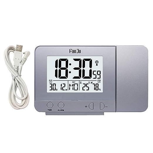 Fenteer Reloj Despertador De Proyección Pantalla LED Pantalla De ...