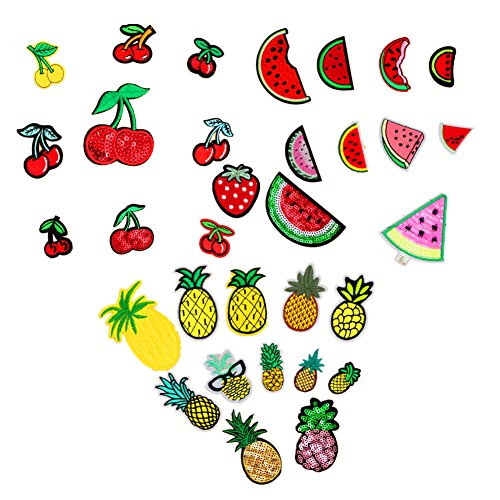 Assorted 32pcs Strawberry Pineapple Watermelon Iron on Patches Fruit Embroidered Appliques Decorative Repair Motif DIY Sew on Patches for Jeans Clothing ()