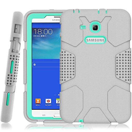 Samsung Galaxy Tab E Lite 7.0 Case, Galaxy Tab 3 Lite 7.0 Case, Hocase Rugged Heavy Duty Kids Proof Protective Case for SM-T110 / SM-T111 / SM-T113 / SM-T116 - Grey/Mint Green
