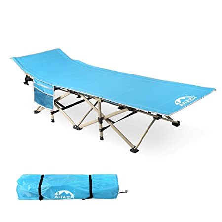 Camping Cot, Updated, 450LBS Max Load , Portable Folding Cot with Side Pocket and Carry Bag for Adults Kids, for Traveling, Camping, Office Nap, Beach Vocation and Home Lounging