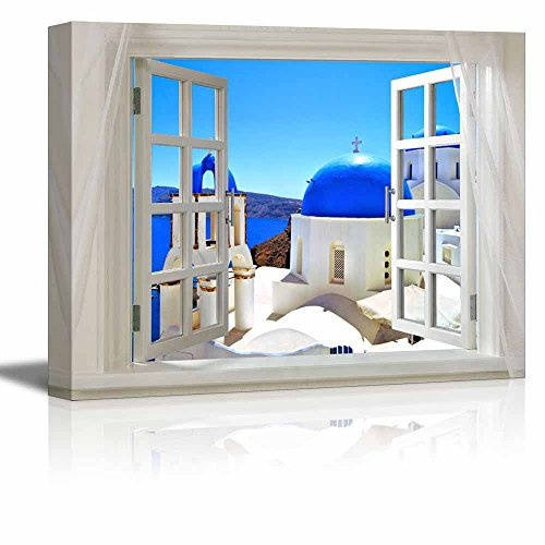 Glimpse into Blue Domed Churches in Santorini Greece out of Open Window Wall Decor ation