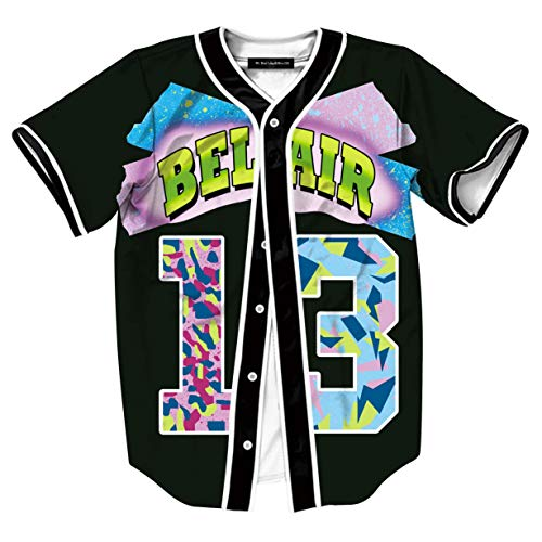 HOP FASHION Youth Unisex Boys Girl Baseball Jersey Short Sleeve Button Down 90s 3D Number 13 Print Baseketball Dance Team Uniform Tees ()