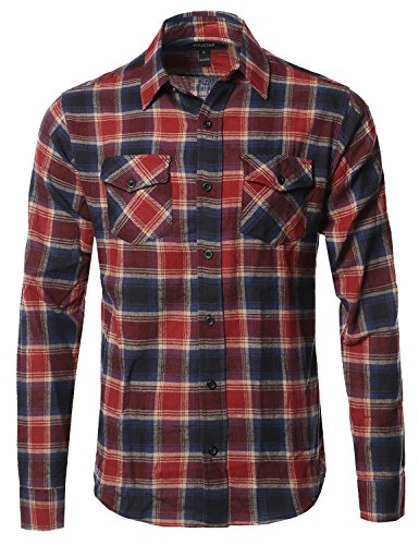 Youstar Flannel Plaid Checkerd Long Sleeve Tshirts Blue Red Size L (Red L/s Plaid Shirt)