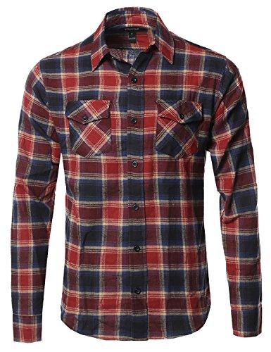 Youstar Flannel Plaid Checkerd Long Sleeve Tshirts Blue Red Size L (Shirt L/s Plaid Red)
