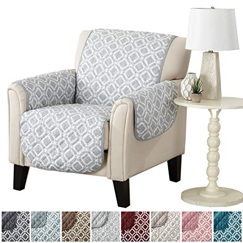 Modern Printed Reversible Stain Resistant Furniture Protector with Geometric Design. Perfect Cover for Pets and Kids. Adjustable Elastic Straps Included. Liliana Collection (Chair, Storm Grey) -